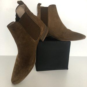 Zara Brown Suede Flat Ankle Boots Size 36